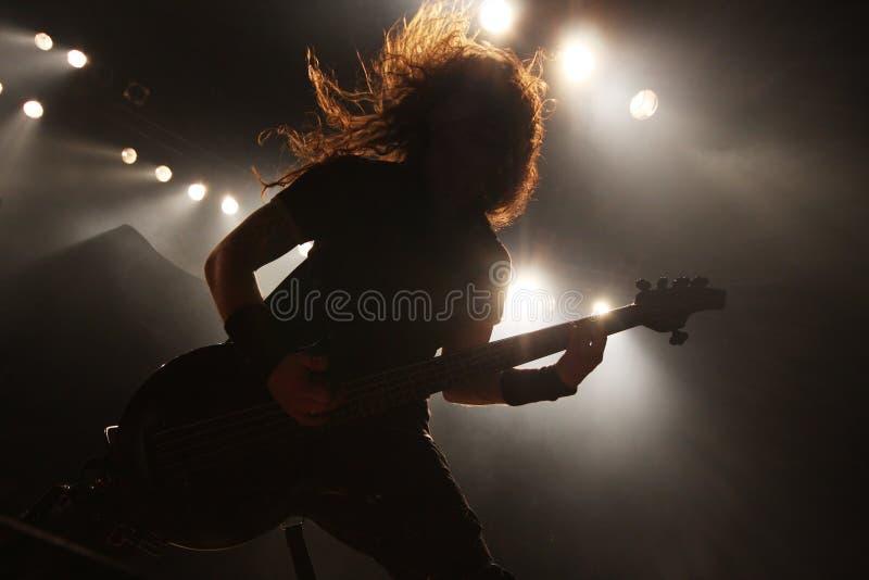 Gitarist in actie royalty-vrije stock afbeelding