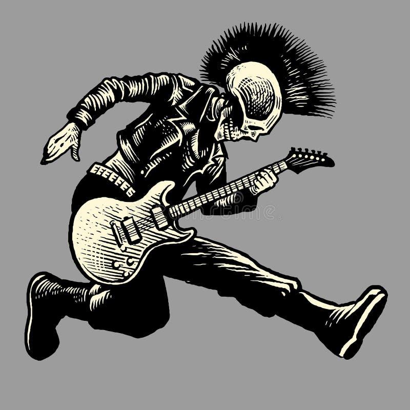 Gitarist van de schedel de punkstijl royalty-vrije illustratie