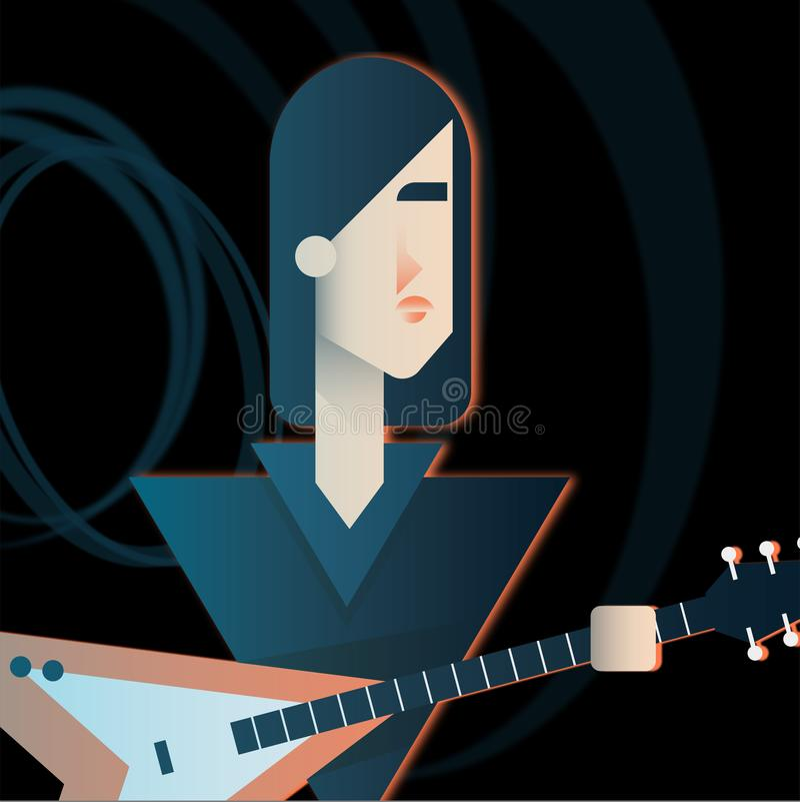 Gitaristkarakter van een popgroep stock illustratie