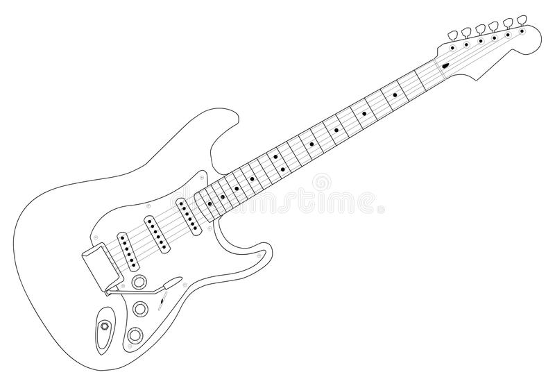 gitarr 01 stock illustrationer