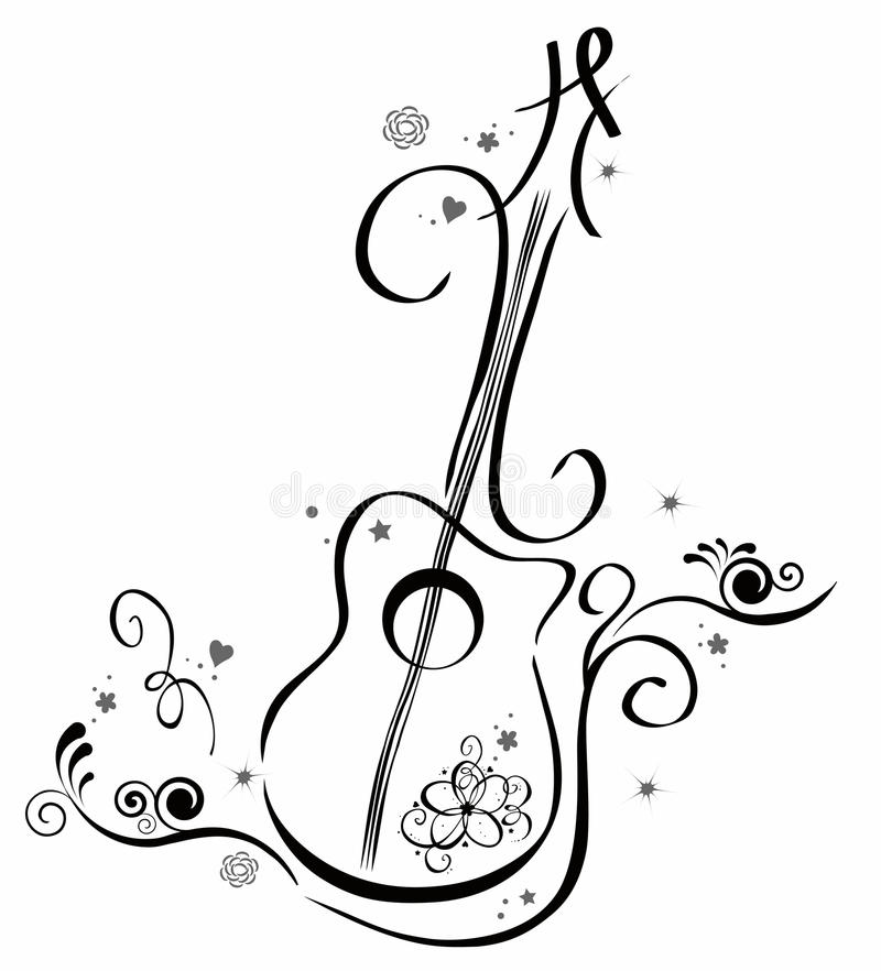 gitarr royaltyfri illustrationer