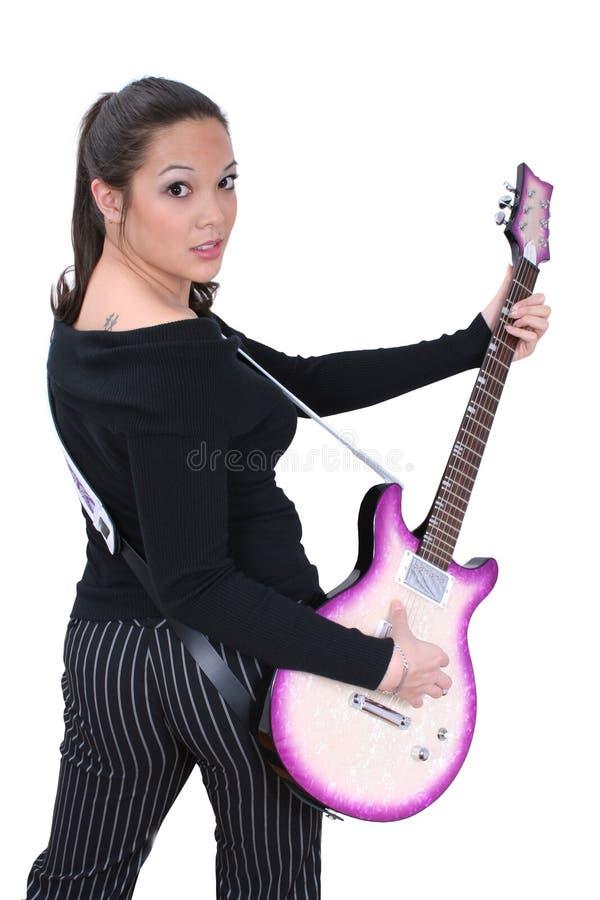 gitarr för 01 flicka arkivbilder