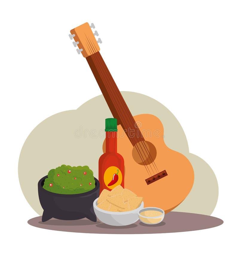 Gitarr med mexikansk mat för tradition till händelsen stock illustrationer
