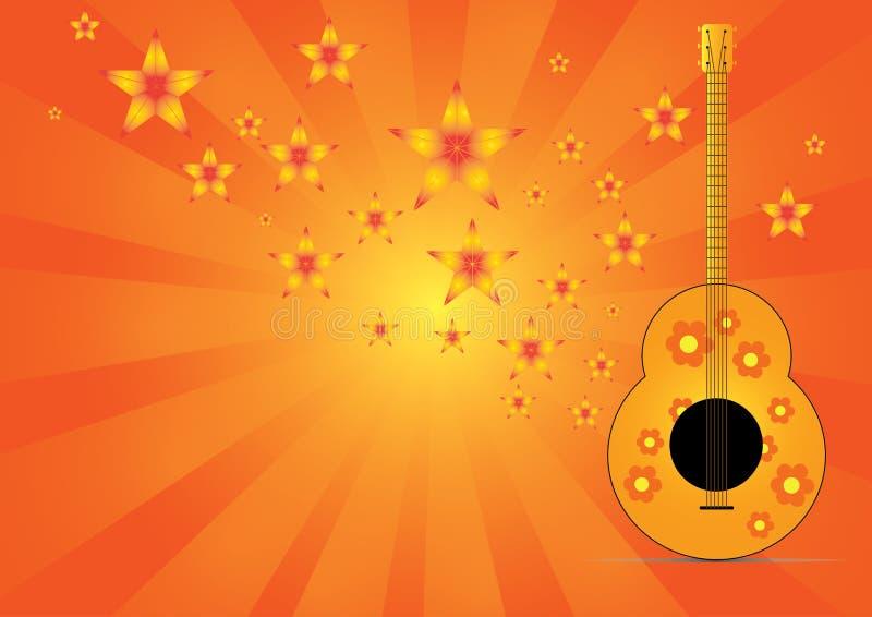 Gitarr med stjärnamusik på abstrakt bakgrund arkivbilder