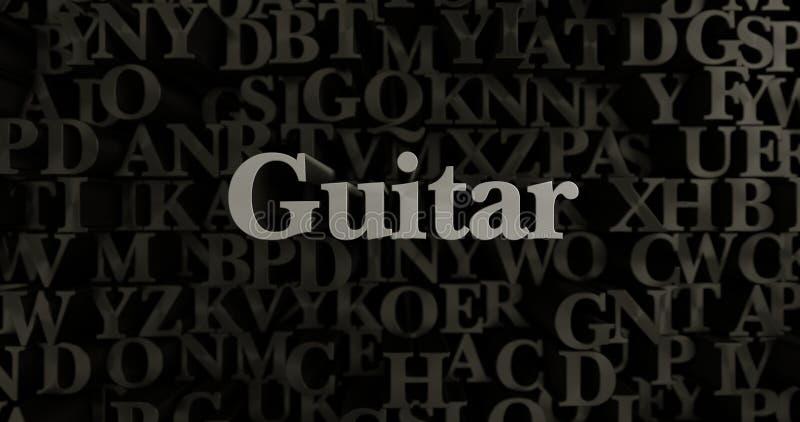 Gitarr - metallisk 3D som framfördes, satte rubrikillustrationen royaltyfri illustrationer