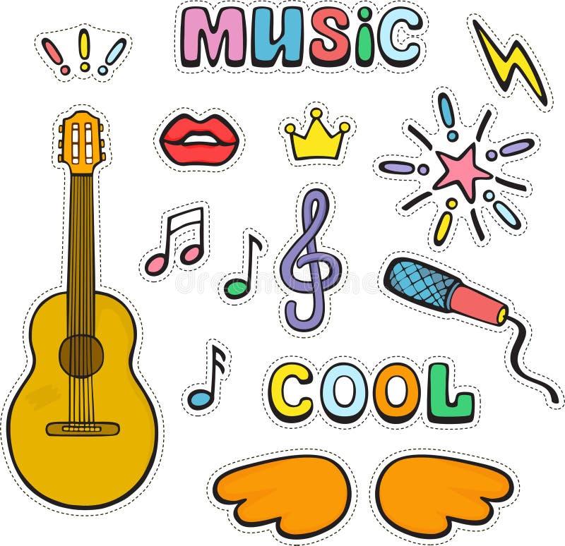 Gitarr, musikaliskt tecken och symboler Ställ in av för vektordoo för färg gulliga klistermärkear för dle royaltyfri illustrationer
