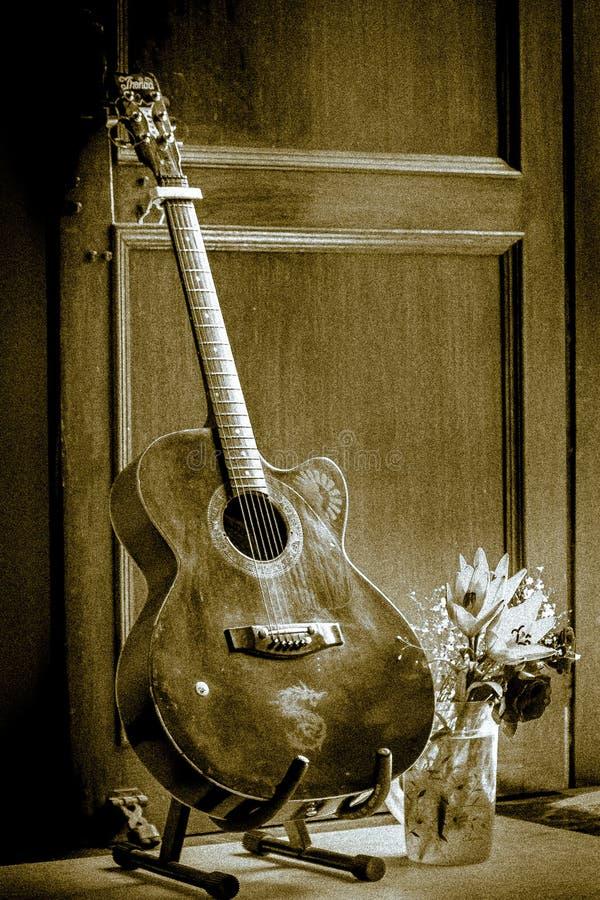 Gitarr på ställning arkivfoto