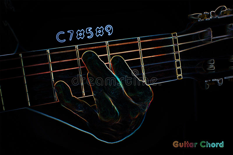 Download Gitarrackord På En Mörk Bakgrund Stock Illustrationer - Illustration av finger, mänskligt: 37347666