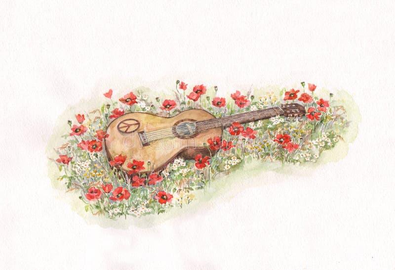 Gitarre auf Mohnblumenfeld-Aquarellmalerei lizenzfreie abbildung