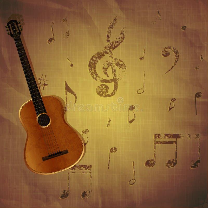 Gitarre auf Papierhintergrund mit Musikanmerkungen lizenzfreie abbildung