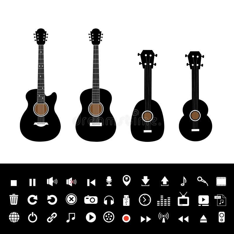 Gitarre elektrisch und Musiksatz stock abbildung
