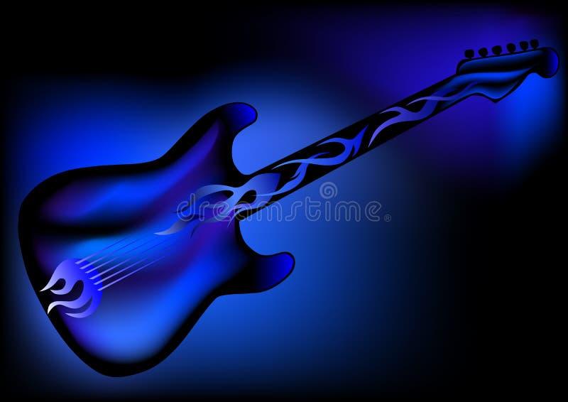 Gitarre im Blau lizenzfreie abbildung
