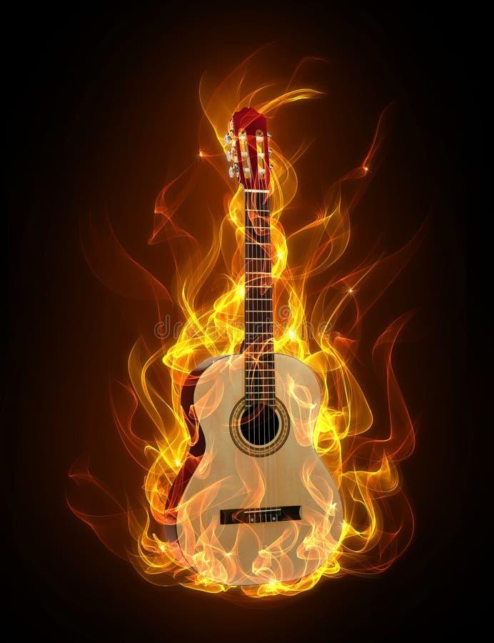 Gitarre im Feuer vektor abbildung