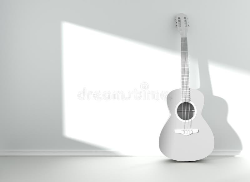 Gitarre im leeren leeren Raum lizenzfreie abbildung
