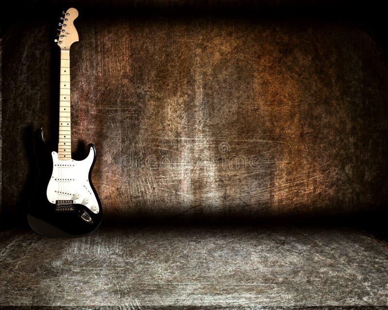 Gitarre im Stahlraum stockbilder