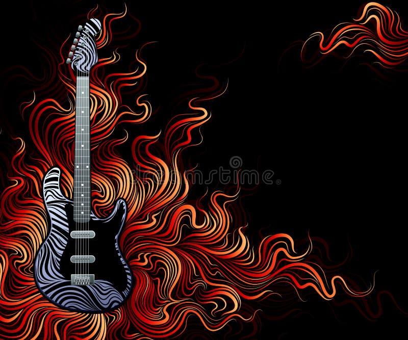 Gitarre ist auf Feuer. vektor abbildung
