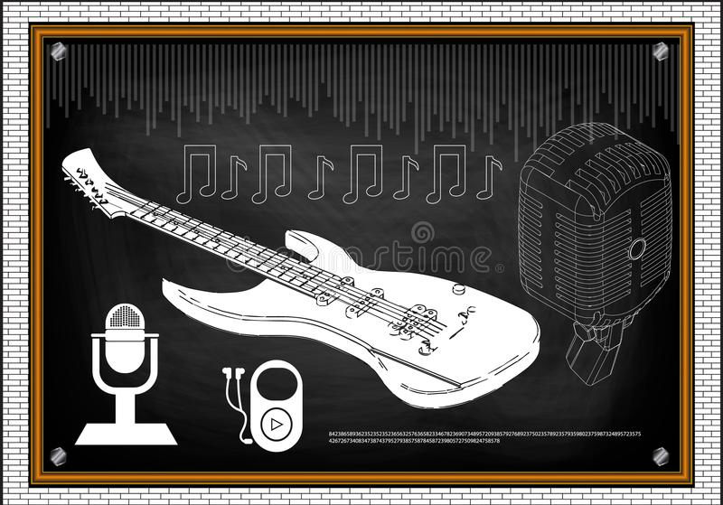Gitarre, Mikrofon und Anmerkungen stock abbildung