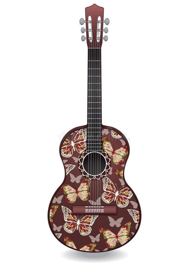 Gitarren dekorerade abstrakta fjärilen med prydnader av rosor blommar dekorativ design stock illustrationer