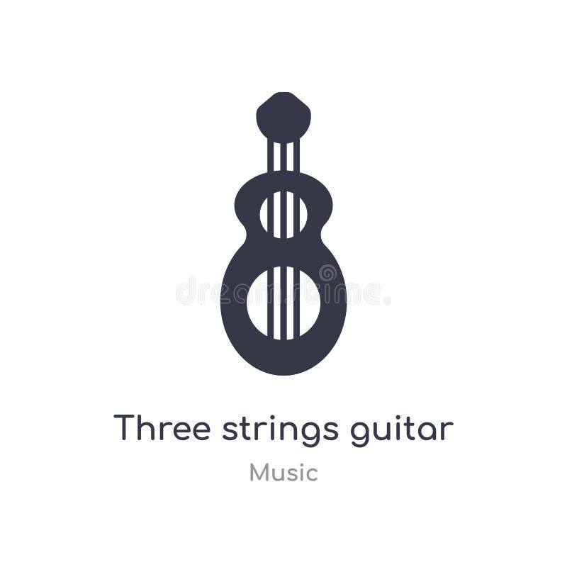 Gitarren-Entwurfsikone mit drei Schnüren lokalisierte Linie Vektorillustration von der Musiksammlung editable Schnüre des Haarstr stock abbildung