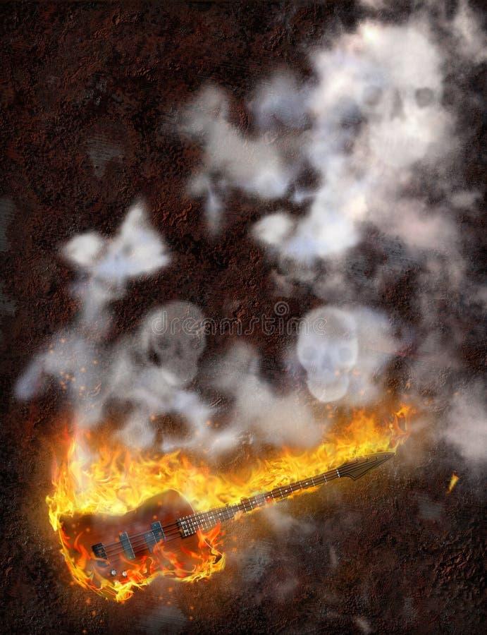 Gitarren-Feuer stock abbildung