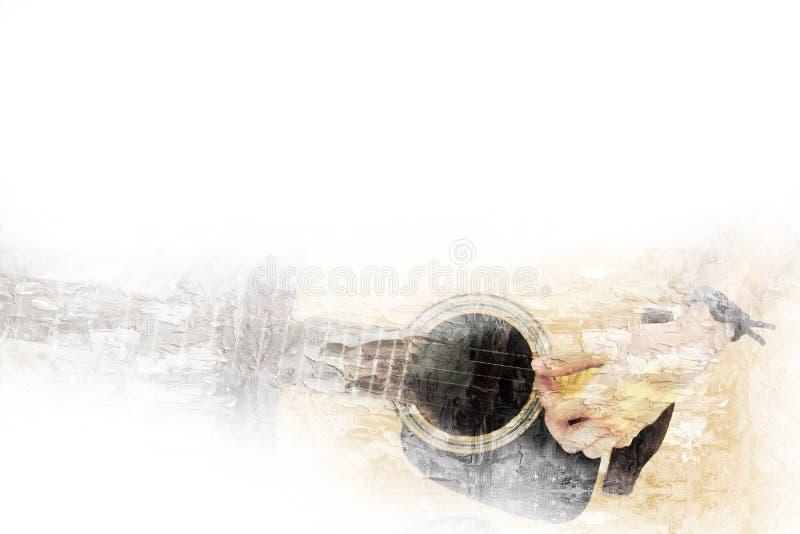 Gitarren i förgrunden på vattenfärgmålningbakgrund och den Digital illustrationen borstar till konst royaltyfri illustrationer