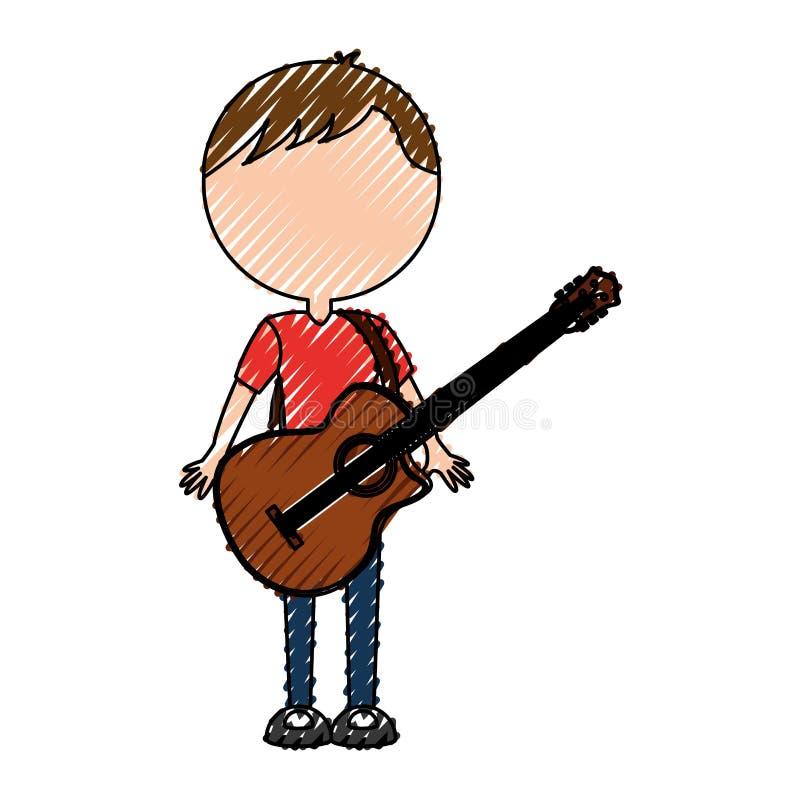 Gitarren-Mannkarikatur des Gekritzels gesichtslose vektor abbildung