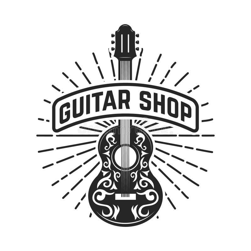 Gitarren shoppar Vagga - och - rulle Planlägg beståndsdelen för logoen, etiketten, emblemet, tecken vektor illustrationer