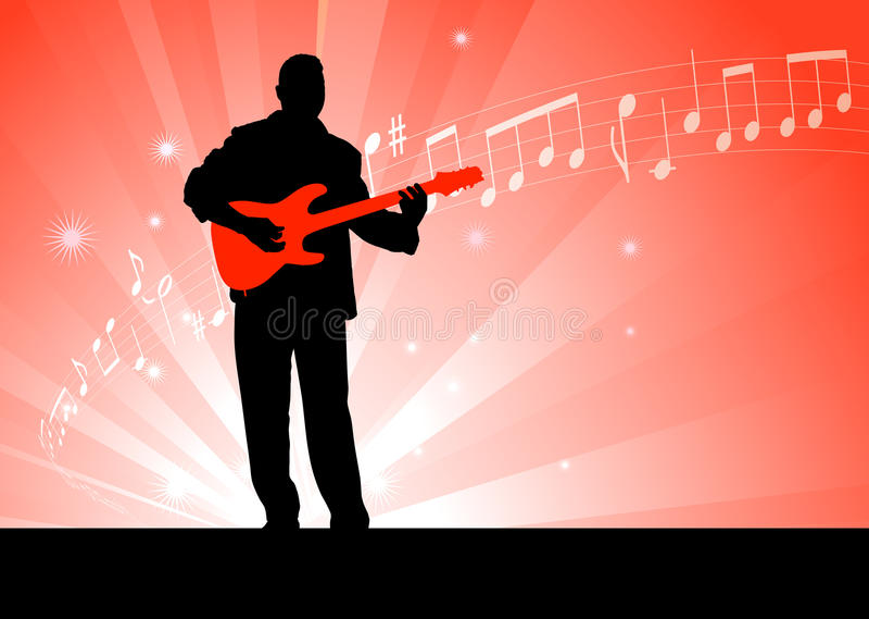 Gitarren-Spieler auf rotem Hintergrund vektor abbildung