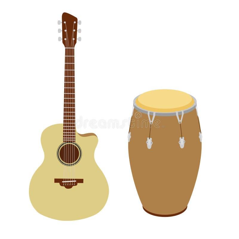 Gitarren- und Congatrommelvektorillustration stock abbildung