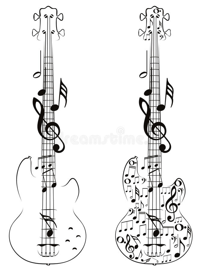 Gitarren-und Musik-Anmerkungen lizenzfreie abbildung