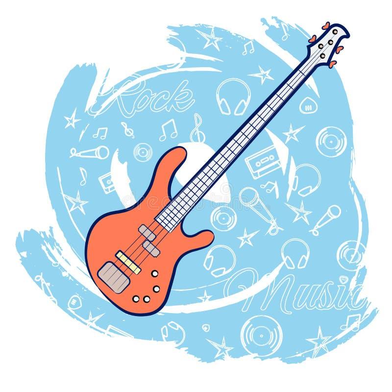 Gitarren vaggar music-01 stock illustrationer