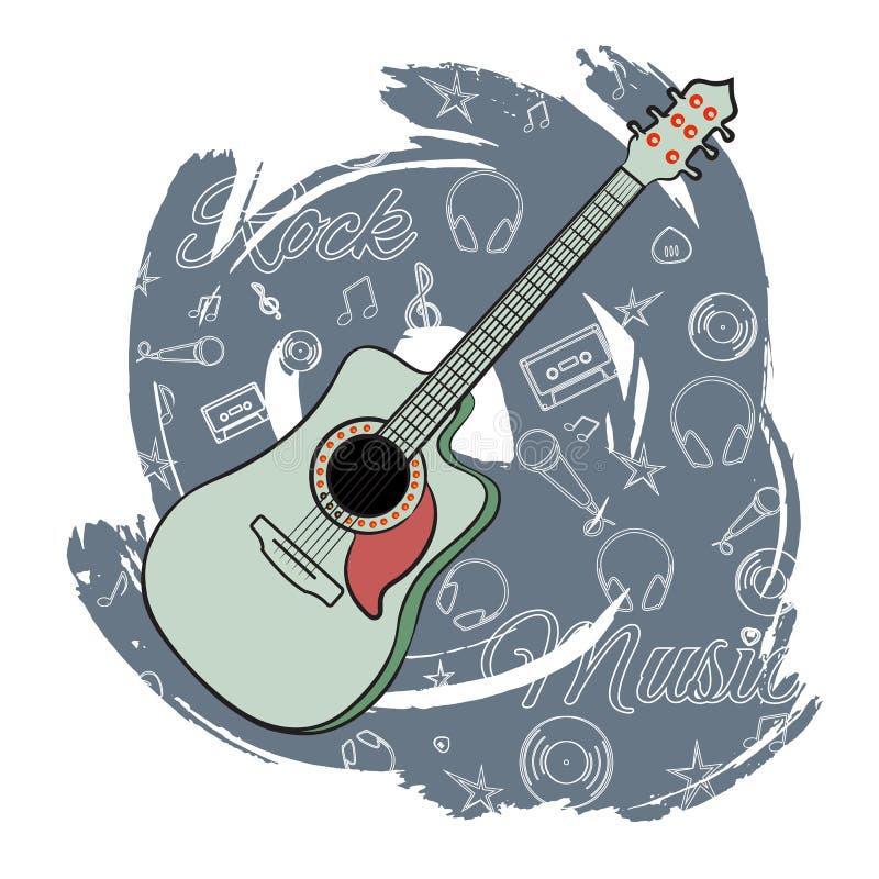 Gitarren vaggar music-02 royaltyfri illustrationer