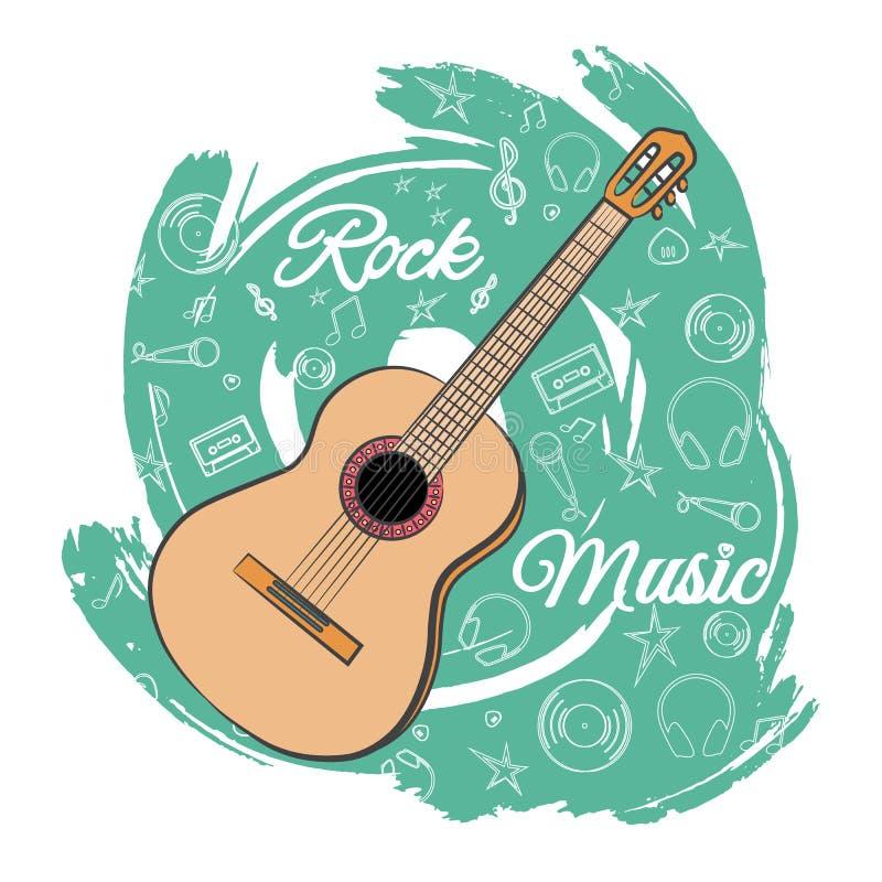 Gitarren vaggar music-05 royaltyfri illustrationer