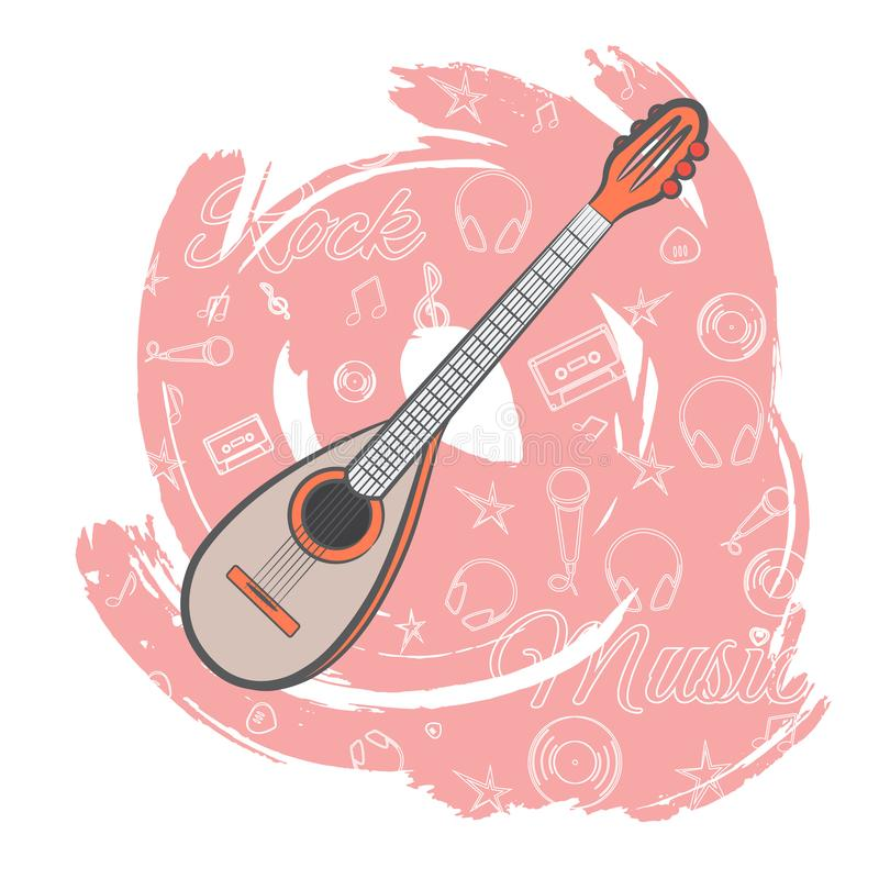Gitarren vaggar music-03r stock illustrationer