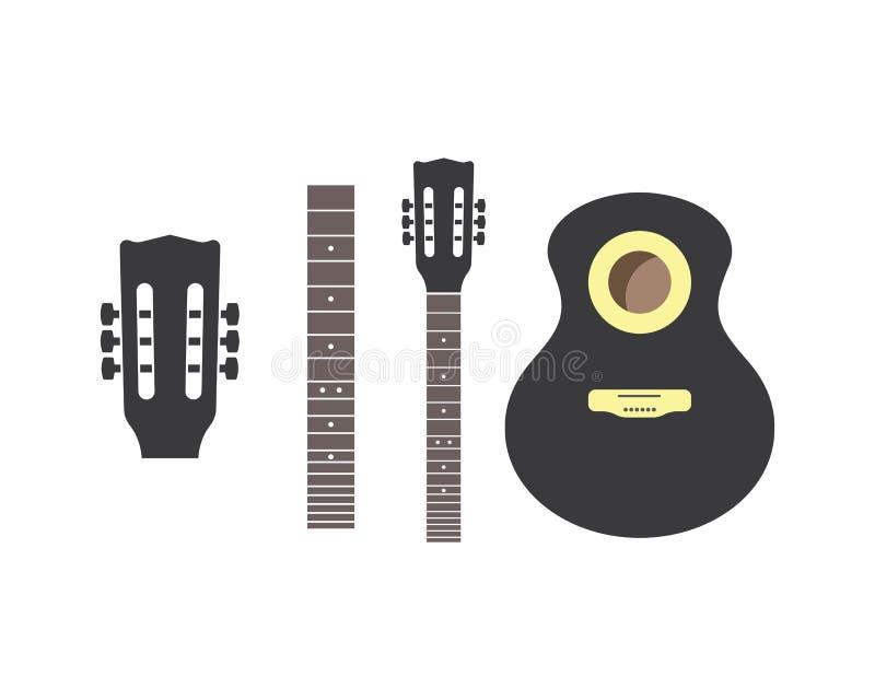 Gitarrenelementikonenlogovektor-Illustrationsentwurf lizenzfreie abbildung