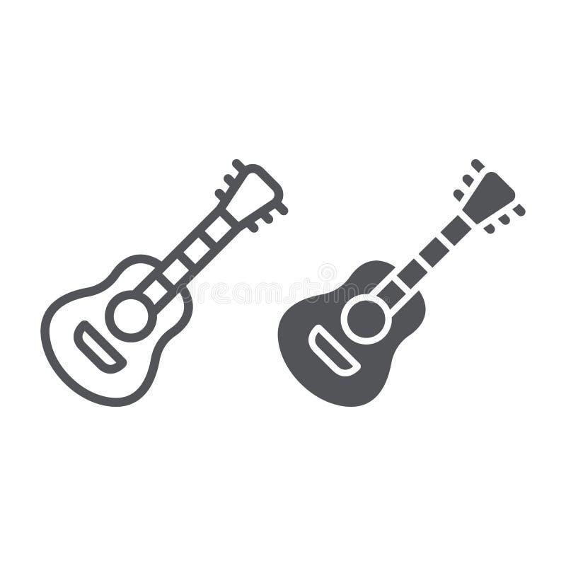 Gitarrenlinie und Glyphikone, Musik und Ton, akustisches Musikinstrumentzeichen, Vektorgrafik, ein lineares Muster auf a lizenzfreie abbildung