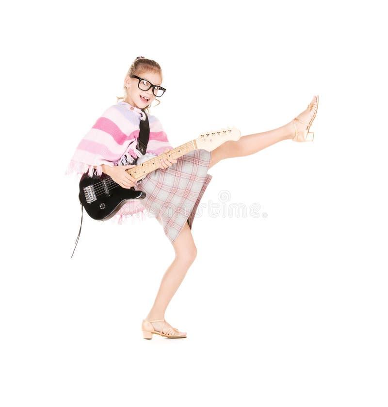 Gitarrenmädchen stockfotos