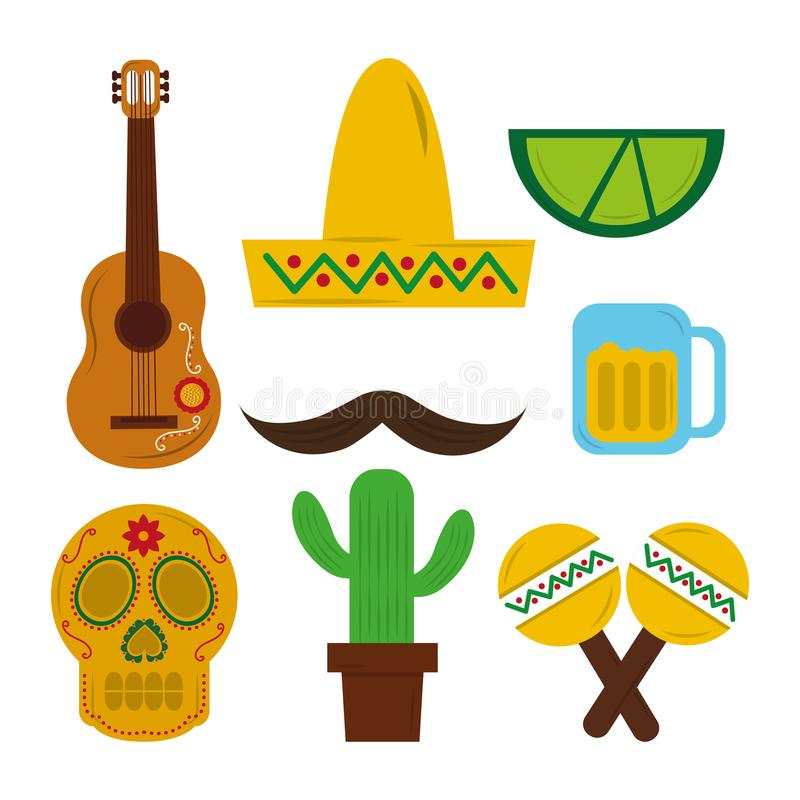 Gitarrenschädel maraca Tequila-Kaktusschnurrbart des mexikanischen Hutes vektor abbildung