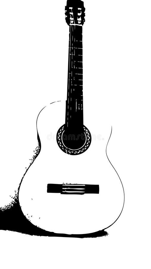 Gitarrenschwarzweiss-Weinlese lokalisiert auf Weiß lizenzfreie abbildung