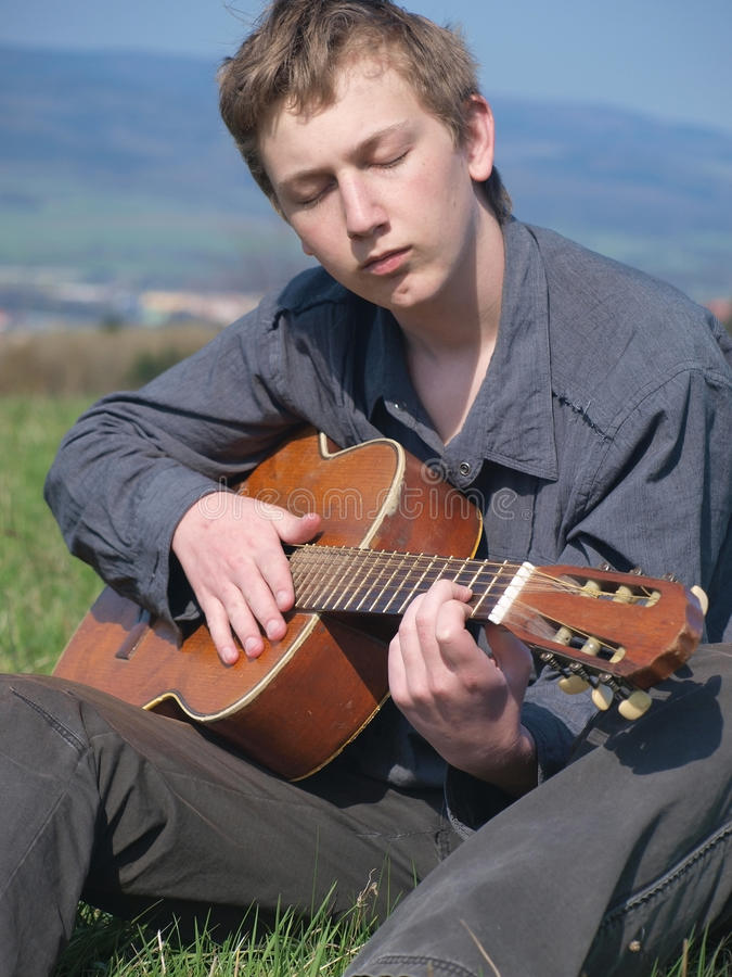 Gitarrenspieler stockfoto