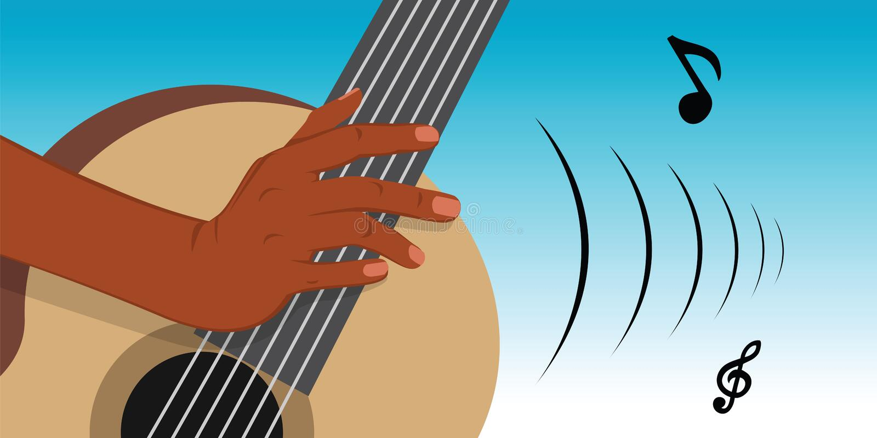 Gitarrenspieler lizenzfreie abbildung