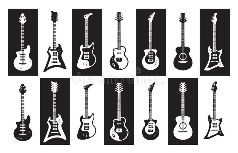 gitarrer Den svartvita elkraften och akustiska vaggar gitarrer av olika typer Vektorminimalisten isolerade uppsättningen royaltyfri illustrationer