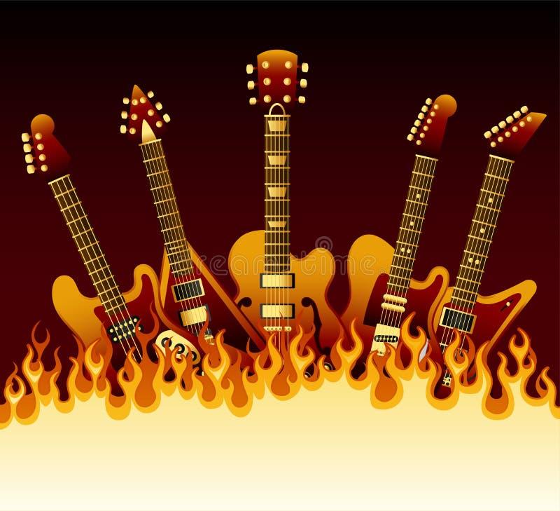 Gitarrer i flammor stock illustrationer