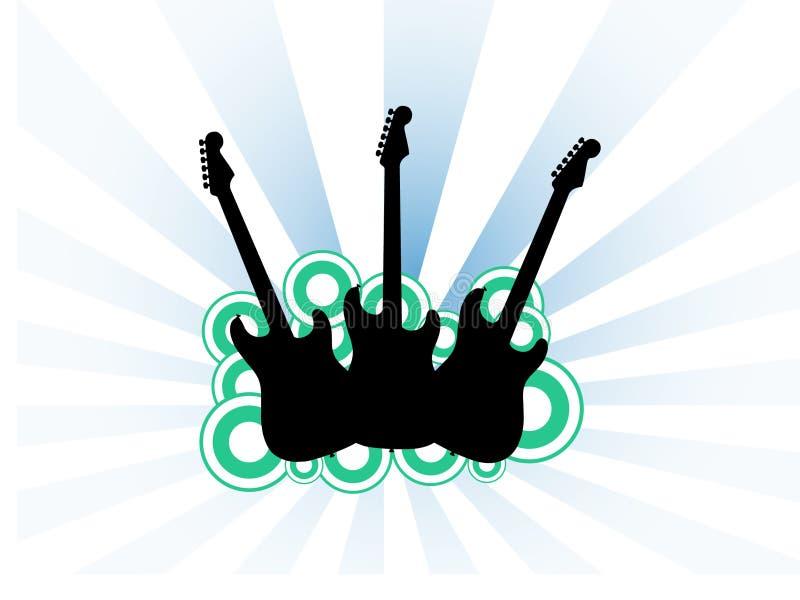 gitarrer tre stock illustrationer