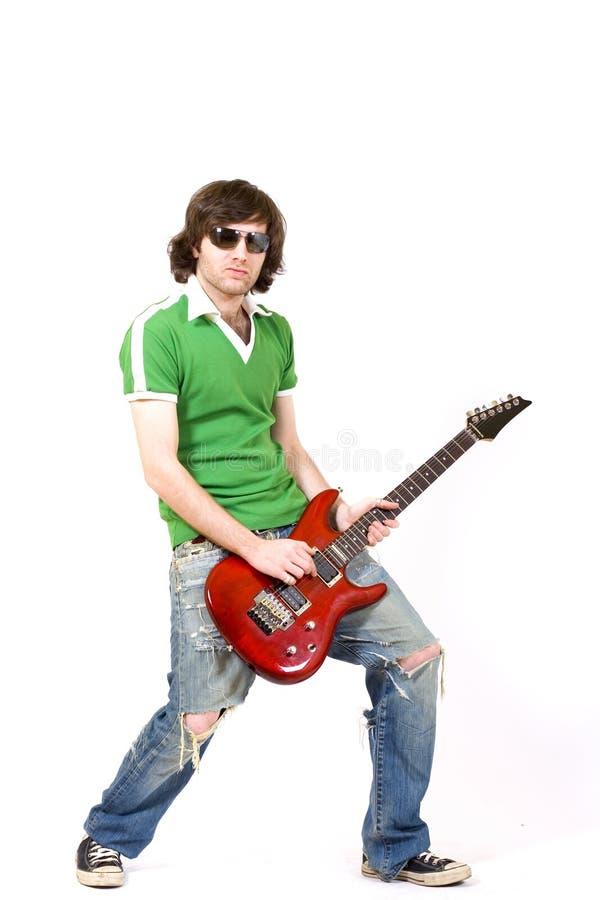 Gitarrist, der elektrische Gitarre des Sn spielt stockfoto
