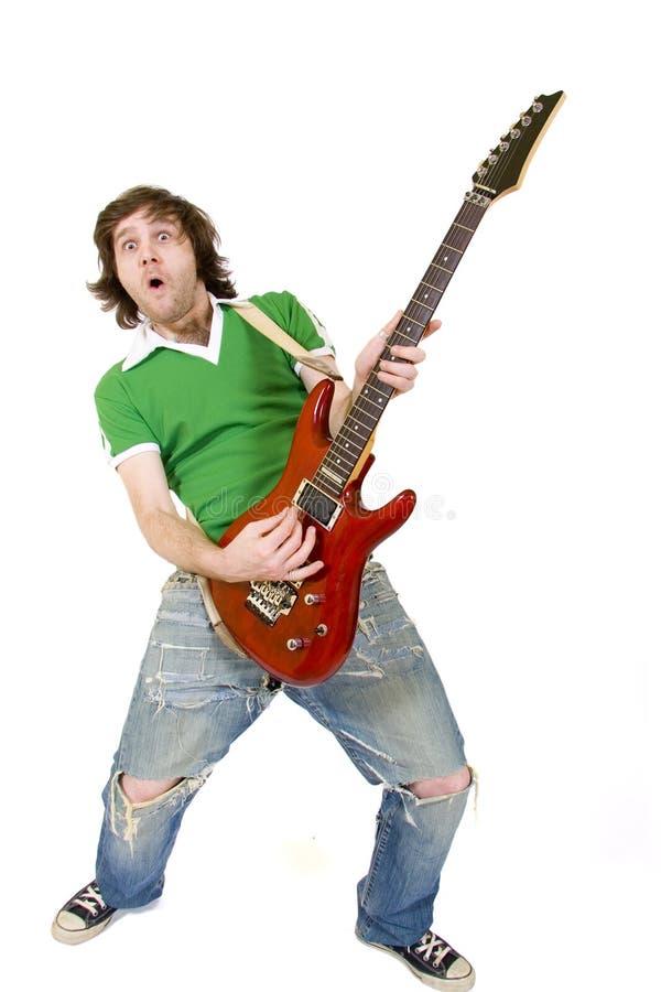 Gitarrist, der elektrische Gitarre des Sn spielt lizenzfreies stockfoto
