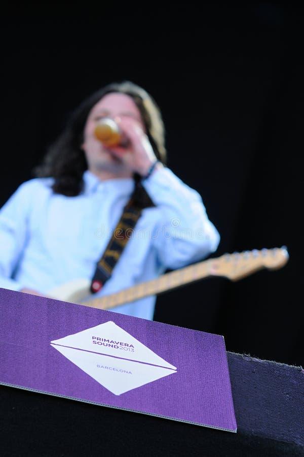 Gitarrist der Friedensband trinkt ein Bier an Ton-Festival 2013 Heinekens Primavera lizenzfreie stockfotos
