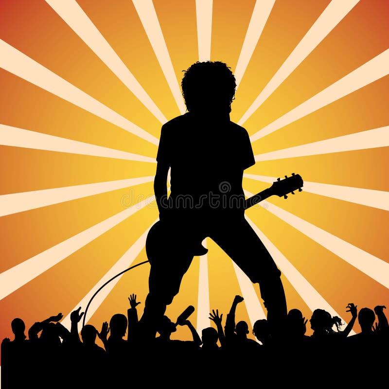 Gitarrist an einem Felsenkonzert stock abbildung