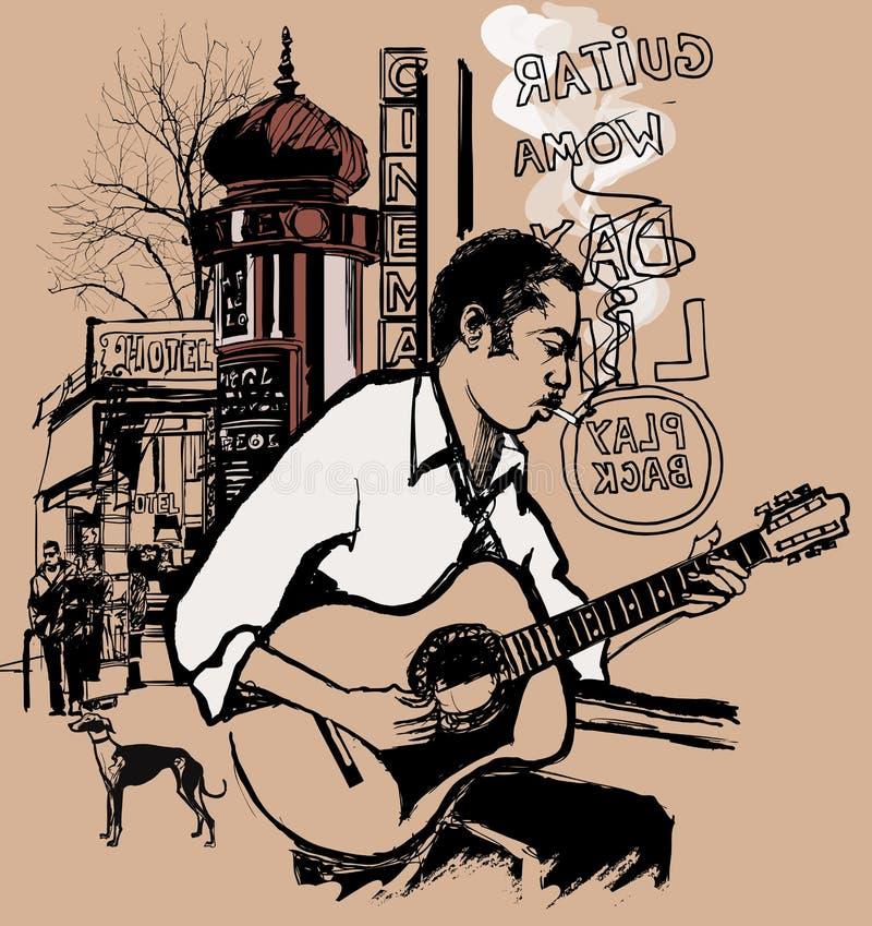 Gitarrist i en gata stock illustrationer