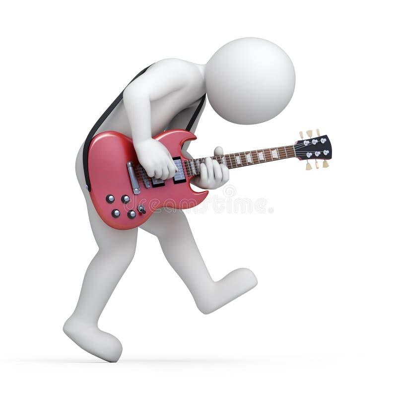 Gitarrist man 3d med en gitarr vektor illustrationer